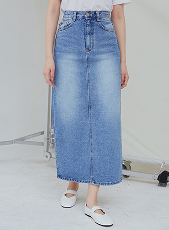 [무료배송] Clear long denim skirt-모스빈